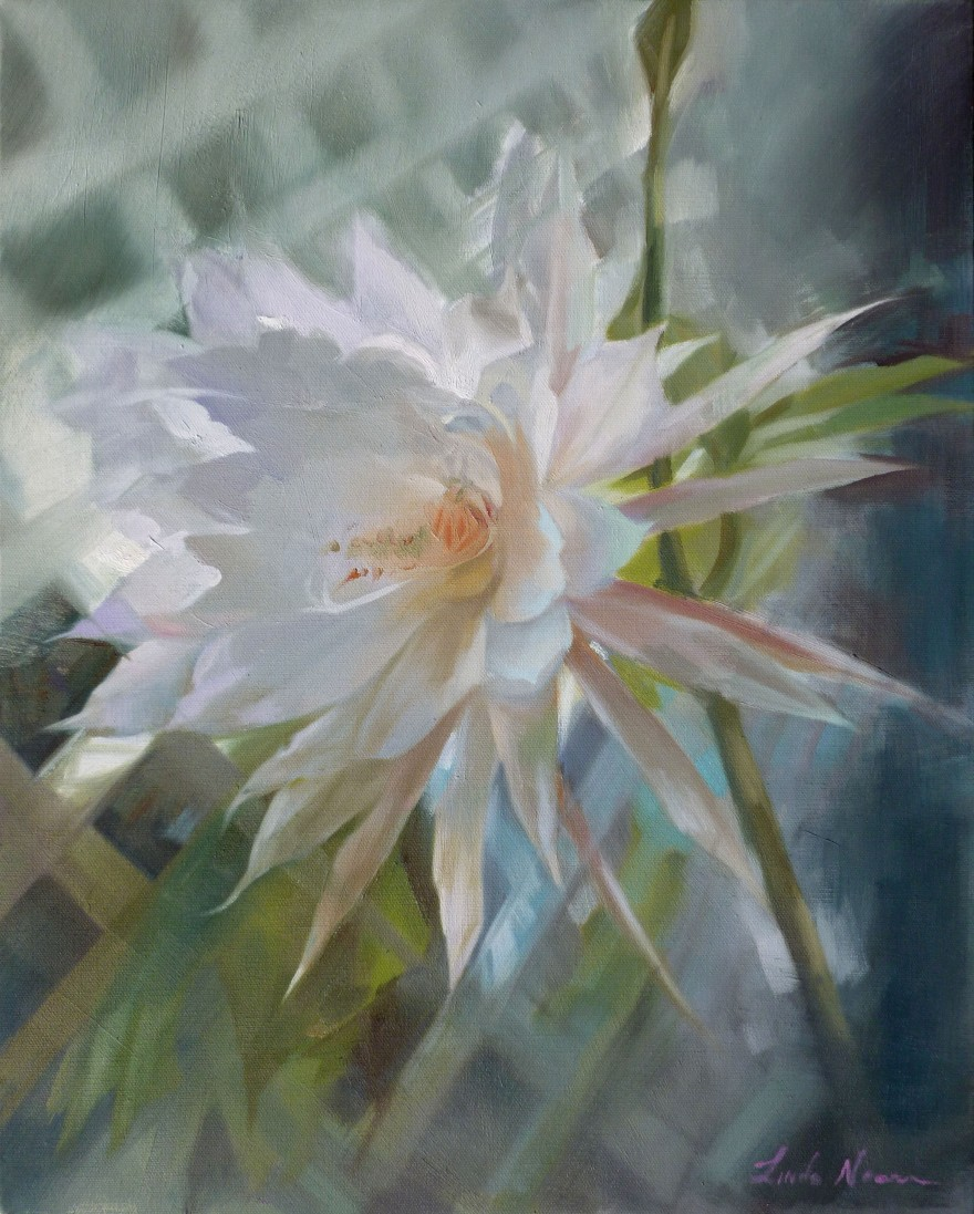 Burst of Beauty Flower Oil on Canvas by Linda Nearon Artist