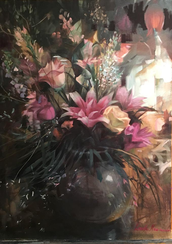 Floral Shop Oil on Canvas by Linda Nearon Artist