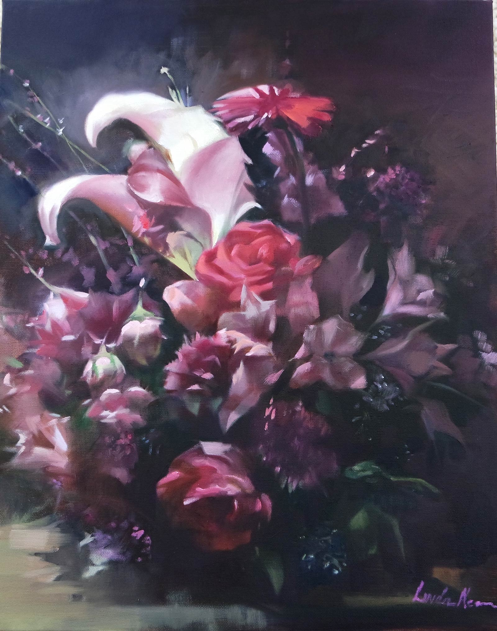 Her Majesty Floral Oil on Canvas by Linda Nearon Artist