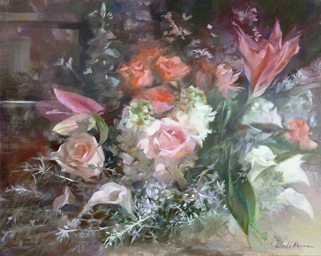 Victorian Floral Oil on Canvas by Linda Nearon Artist