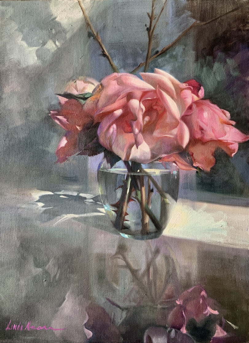 Pink Rose Reflections Oil on Canvas by Linda Nearon Artist