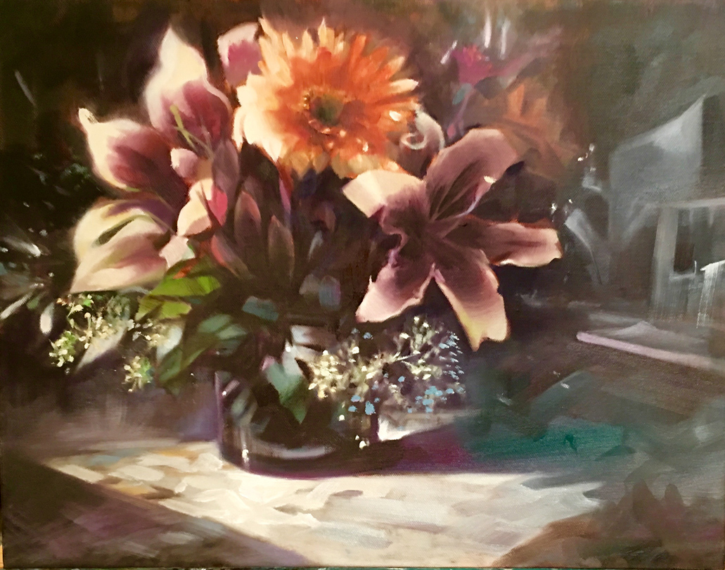 Winter Bouquet Floral Oil on Canvas by Linda Nearon Artist